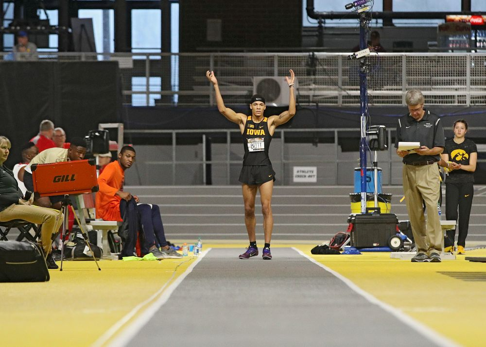 Iowa's Jamal Britt gets the crowd to clap before his final jump in the men's long jump event during the Larry Wieczorek Invitational at the Recreation Building in Iowa City on Friday, January 17, 2020. (Stephen Mally/hawkeyesports.com)