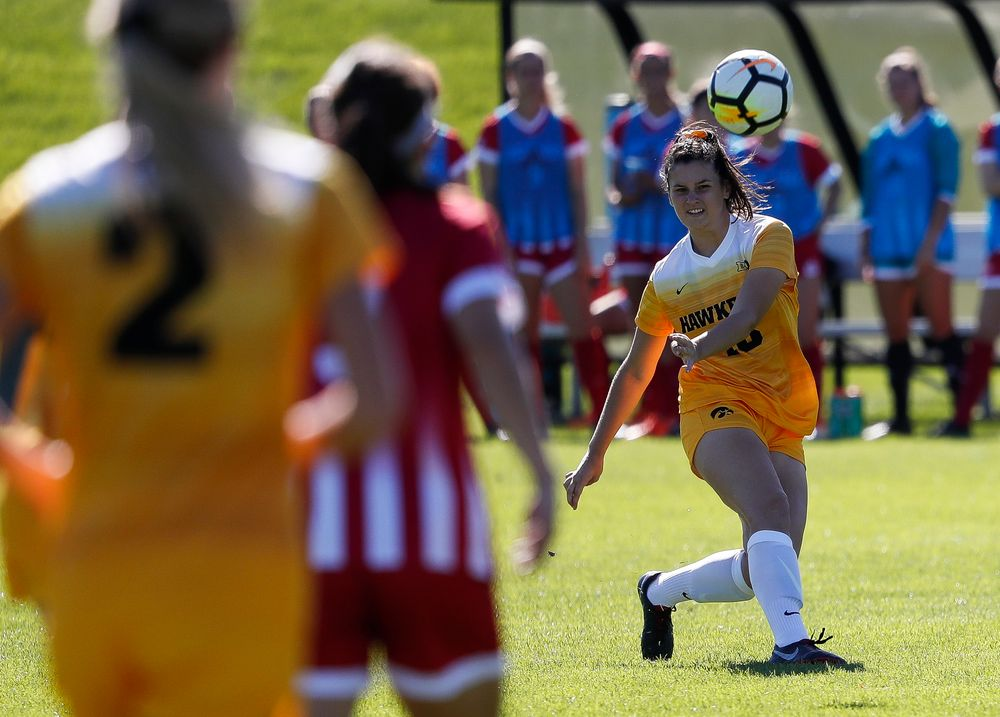 Iowa Hawkeyes defender Diane Senkowski (18) passes the ball during a game against Indiana at the Iowa Soccer Complex on September 23, 2018. (Tork Mason/hawkeyesports.com)