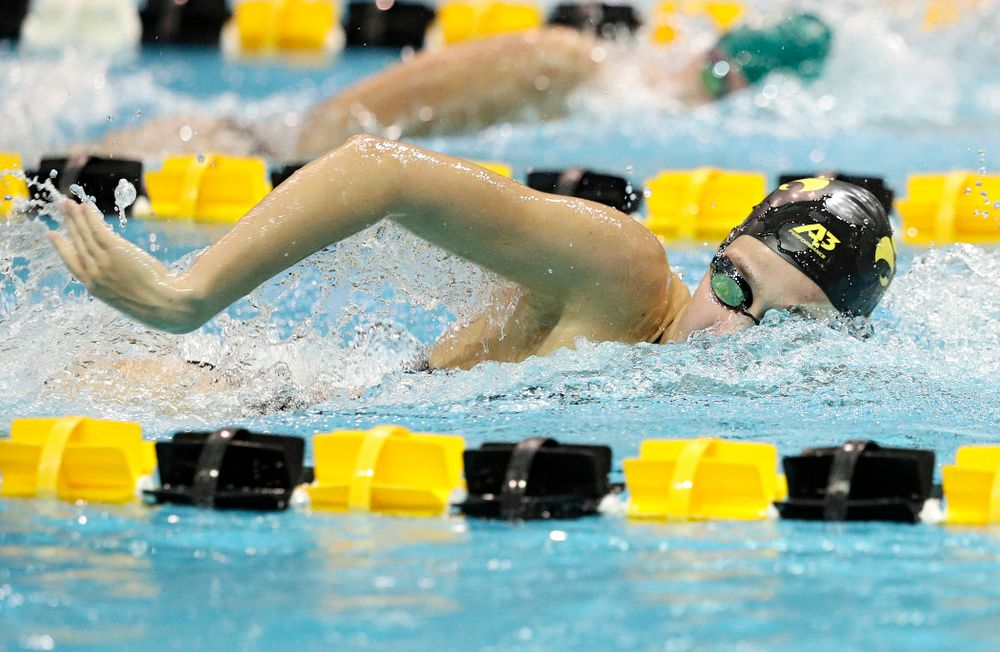 Iowa's Macy Rink swims the freestyle section of the 100-yard individual medley event during their meet against Michigan State at the Campus Recreation and Wellness Center in Iowa City on Thursday, Oct 3, 2019. (Stephen Mally/hawkeyesports.com)