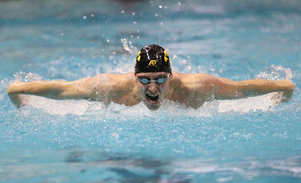 Iowa's Jack Smith competes in the 100-yard butterfly during the third day of the Hawkeye Invitational at the Campus Recreation and Wellness Center on November 16, 2018. (Tork Mason/hawkeyesports.com)