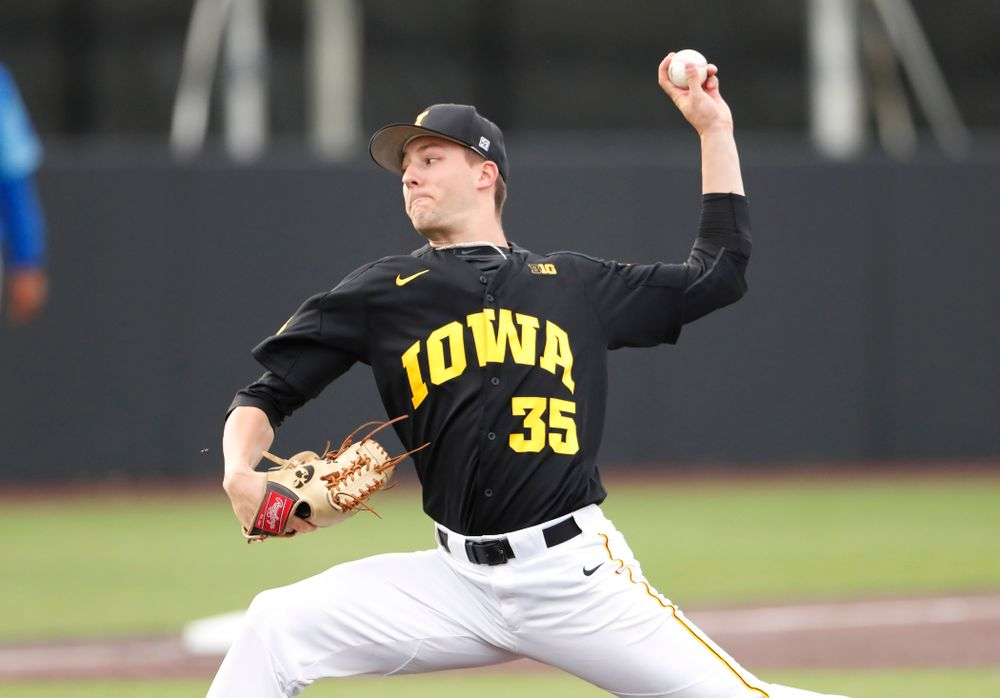 Cam Baumann against the Ontario Blue Jays Friday, September 21, 2018 at Duane Banks Field. (Brian Ray/hawkeyesports.com)