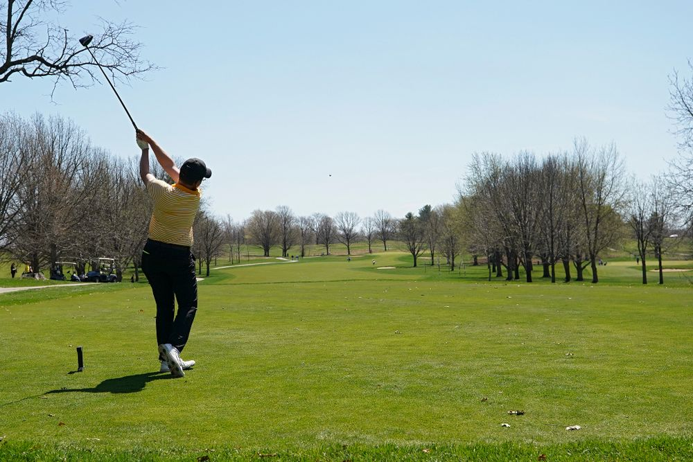 Iowa's Matthew Walker tees off during the third round of the Hawkeye Invitational at Finkbine Golf Course in Iowa City on Sunday, Apr. 21, 2019. (Stephen Mally/hawkeyesports.com)