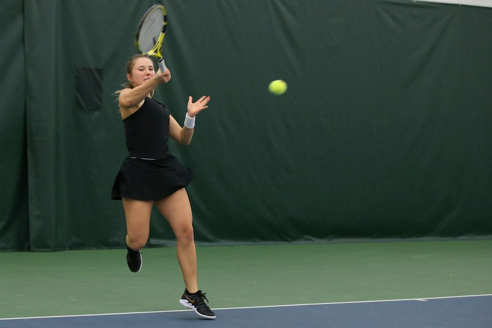 Iowa's Danielle Burich returns a hit during the Iowa women's tennis meet vs UNI  on Saturday, February 29, 2020 at the Hawkeye Tennis and Recreation Complex. (Lily Smith/hawkeyesports.com)
