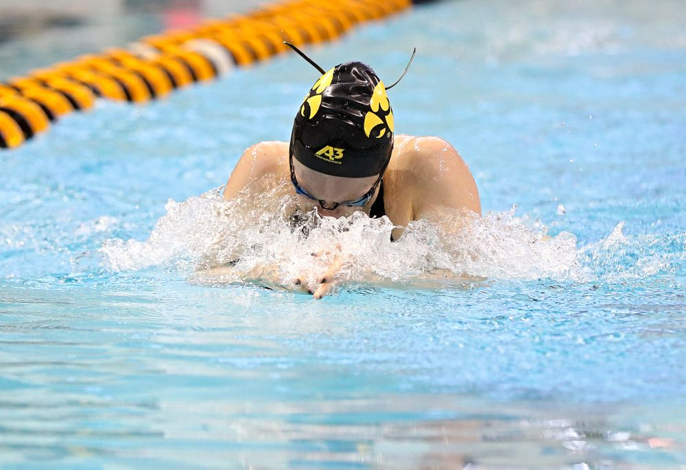 Iowa's Lexi Horner swims in the women's 100 yard breaststroke time trial event during the 2020 Women's Big Ten Swimming and Diving Championships at the Campus Recreation and Wellness Center in Iowa City on Saturday, February 22, 2020. (Stephen Mally/hawkeyesports.com)