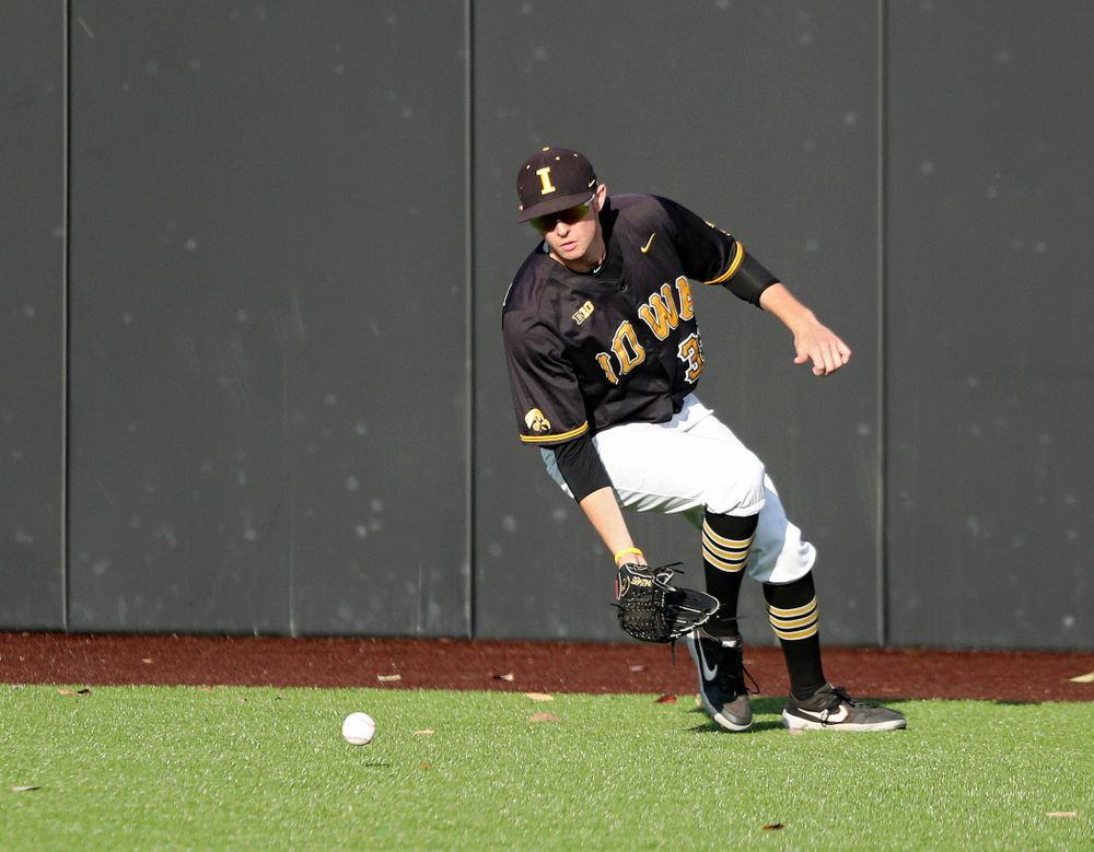 Iowa outfielder Trenton Wallace (38) fields a hit during the fourth inning of the first game of the Black and Gold Fall World Series at Duane Banks Field in Iowa City on Tuesday, Oct 15, 2019. (Stephen Mally/hawkeyesports.com)