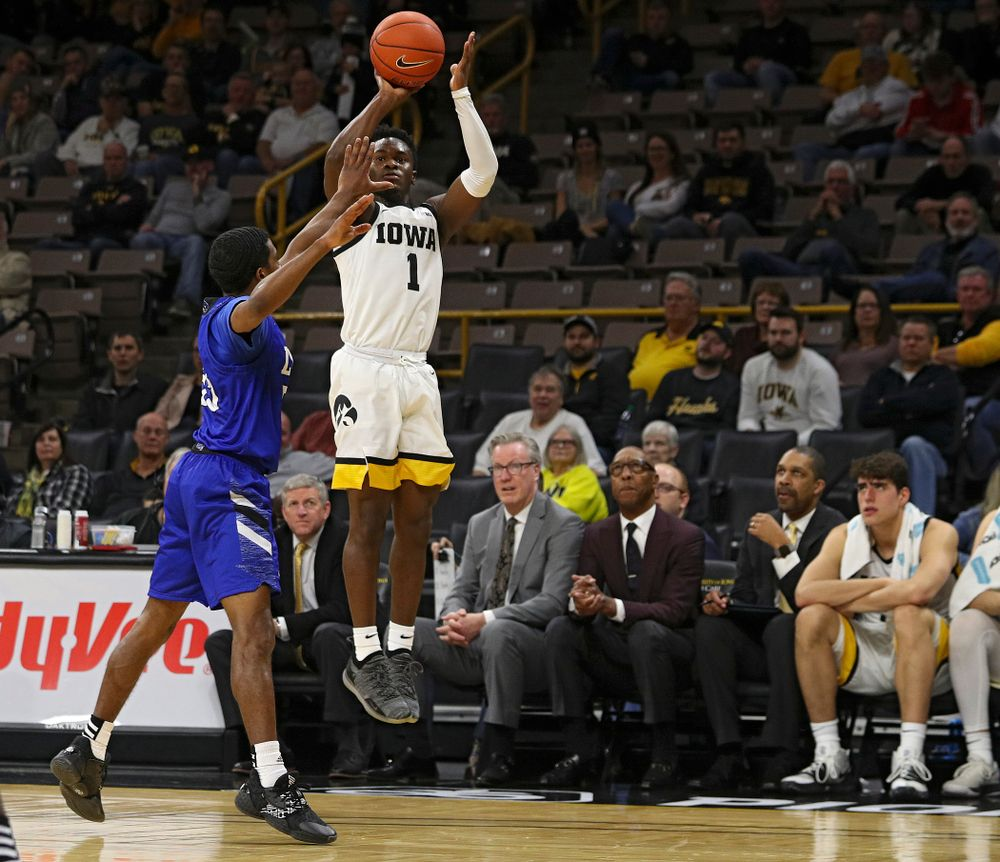 Iowa Hawkeyes guard Joe Toussaint (1) puts up a shot during the second half of their exhibition game against Lindsey Wilson College at Carver-Hawkeye Arena in Iowa City on Monday, Nov 4, 2019. (Stephen Mally/hawkeyesports.com)