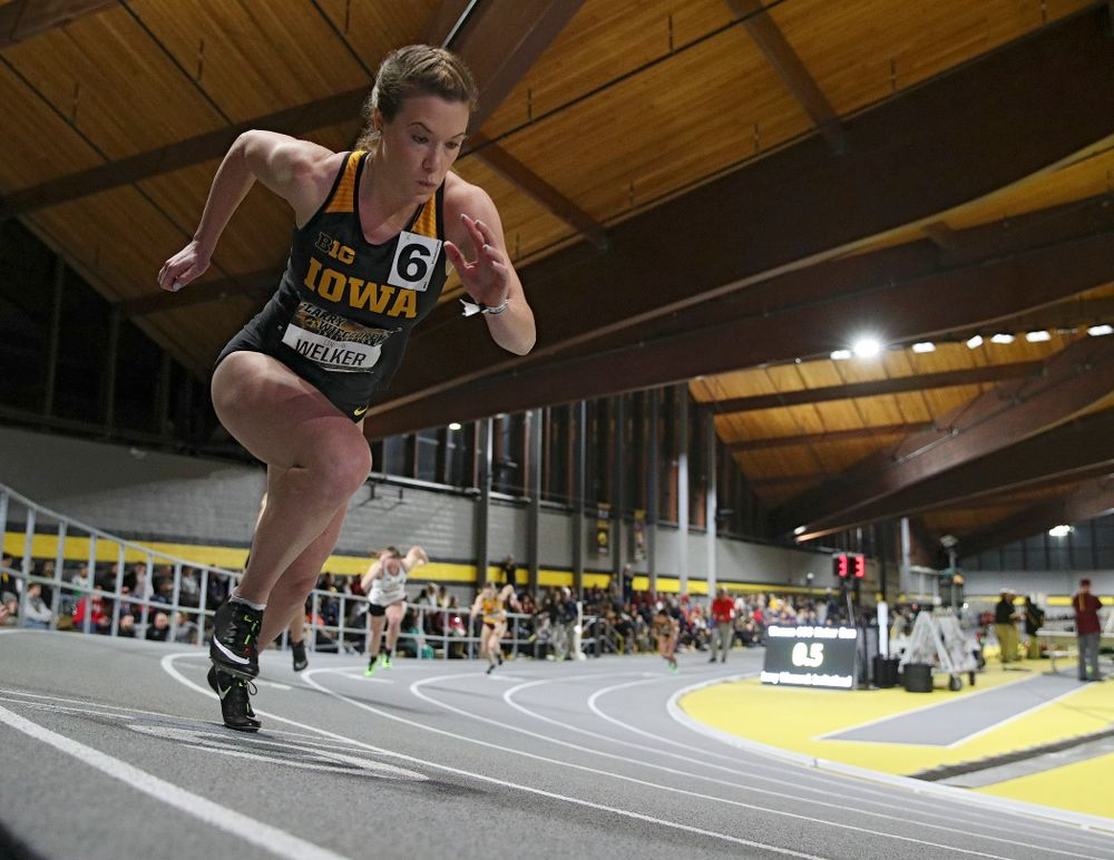Iowa's Lindsay Welker runs the women's 600 meter run event during the Larry Wieczorek Invitational at the Recreation Building in Iowa City on Friday, January 17, 2020. (Stephen Mally/hawkeyesports.com)