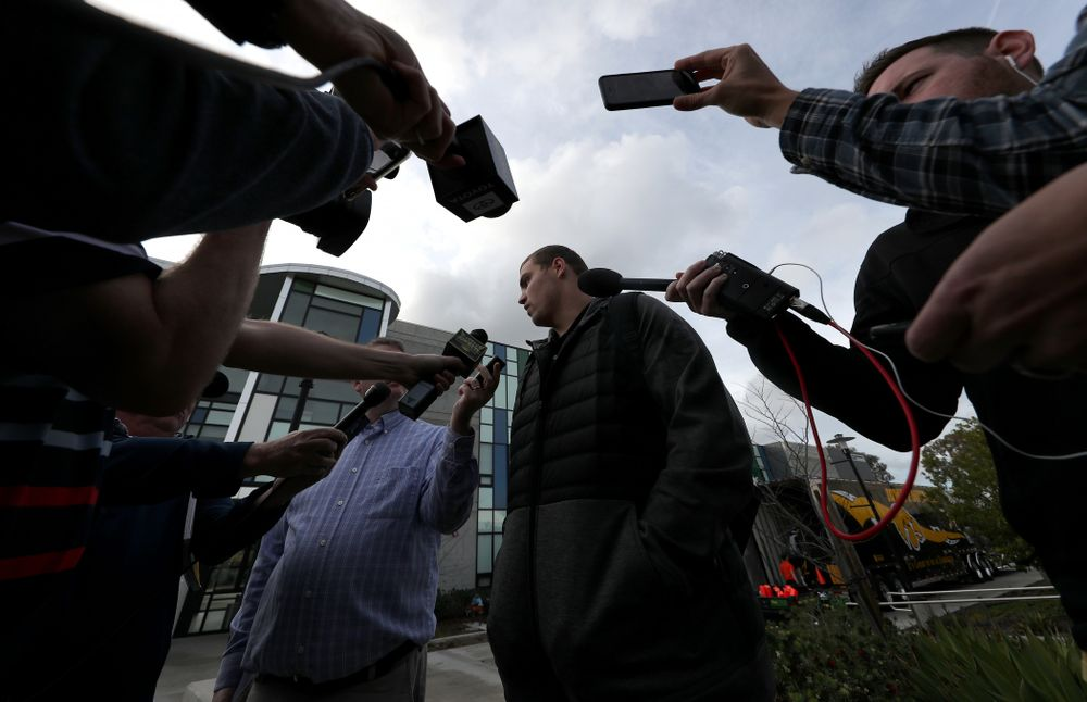 Iowa Hawkeyes quarterback Nate Stanley (4) answers questions from reporters following Holiday Bowl Practice No. 3  Tuesday, December 24, 2019 at San Diego Mesa College. (Brian Ray/hawkeyesports.com)
