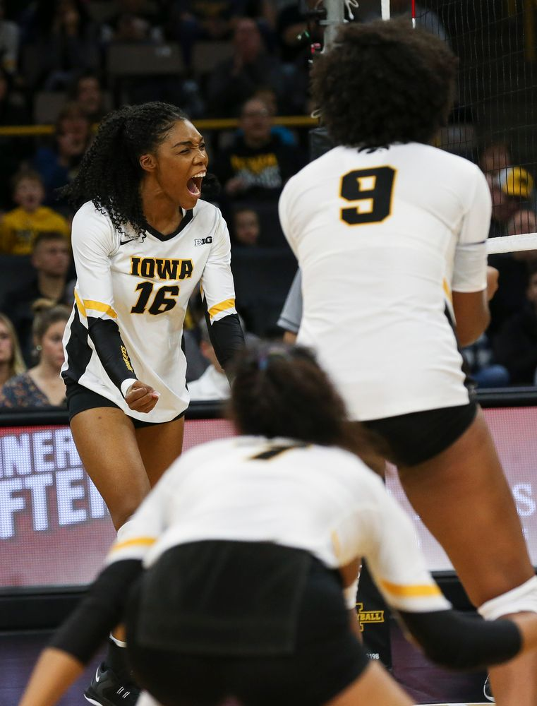 Iowa Hawkeyes outside hitter Taylor Louis (16) reacts after a kill during a game against Purdue at Carver-Hawkeye Arena on October 13, 2018. (Tork Mason/hawkeyesports.com)
