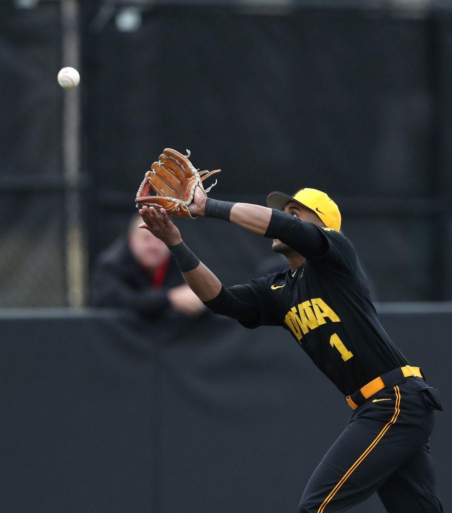 Iowa Hawkeyes infielder Lorenzo Elion (1) against Simpson College Tuesday, March 19, 2019 at Duane Banks Field. (Brian Ray/hawkeyesports.com)