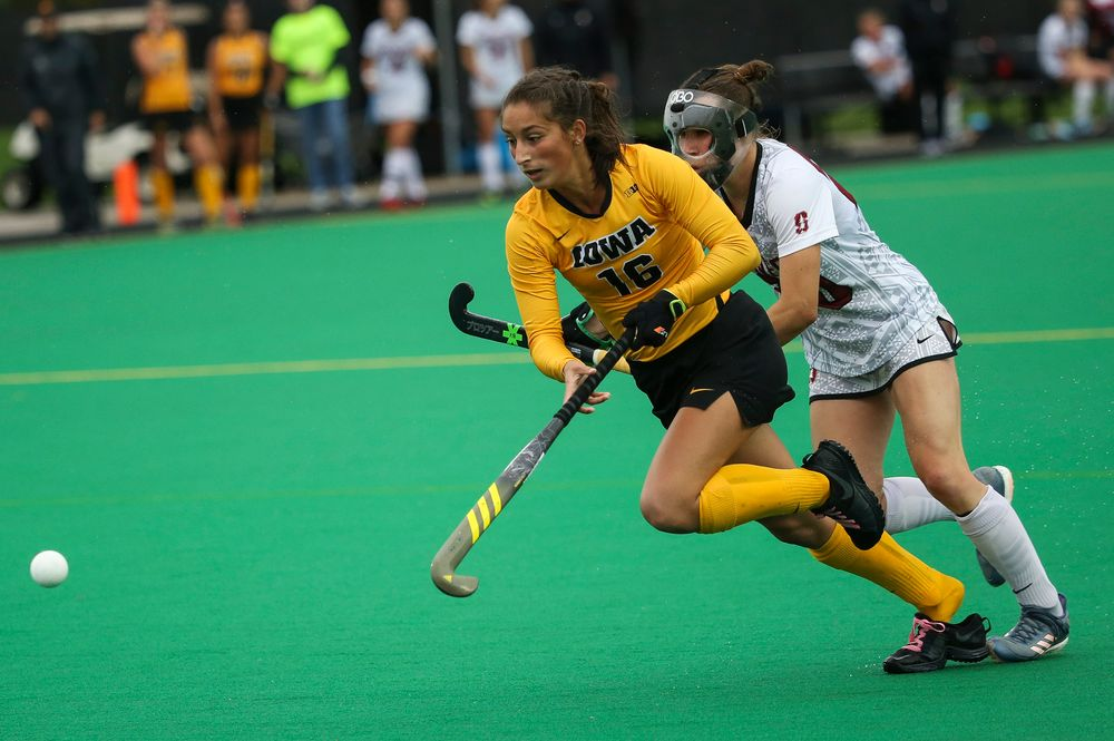 Iowa Hawkeyes forward Isabella Solaroli (16) chases down the ball during a game against Stanford at Grant Field on October 7, 2018. (Tork Mason/hawkeyesports.com)