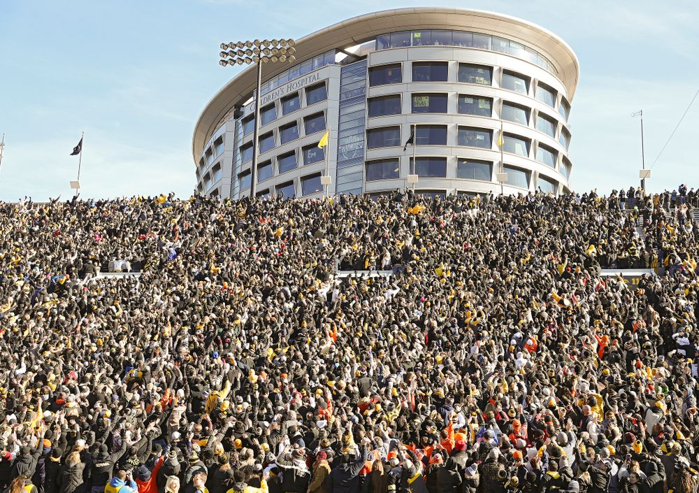 Fans wave to the University of Iowa Stead Family Children's Hospital between the first and second quarter of their game at Kinnick Stadium in Iowa City on Saturday, Nov 23, 2019. (Stephen Mally/hawkeyesports.com)