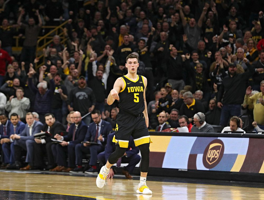 Iowa Hawkeyes guard CJ Fredrick (5) celebrates after making a 3-pointer during the second half of their game at Carver-Hawkeye Arena in Iowa City on Monday, January 27, 2020. (Stephen Mally/hawkeyesports.com)
