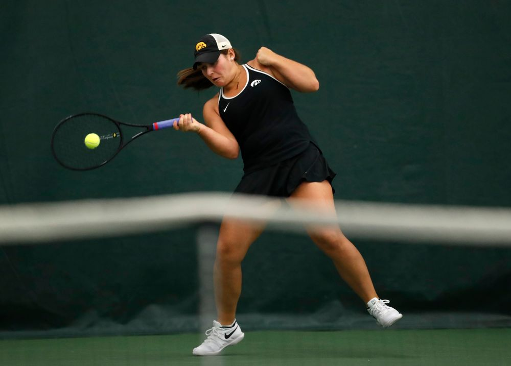 Iowa's Danielle Bauers competes on the first day of the 2018 ITA Central Regional Championships Friday, October 12, 2018 Hawkeye Tennis and Recreation Complex. (Brian Ray/hawkeyesports.com)