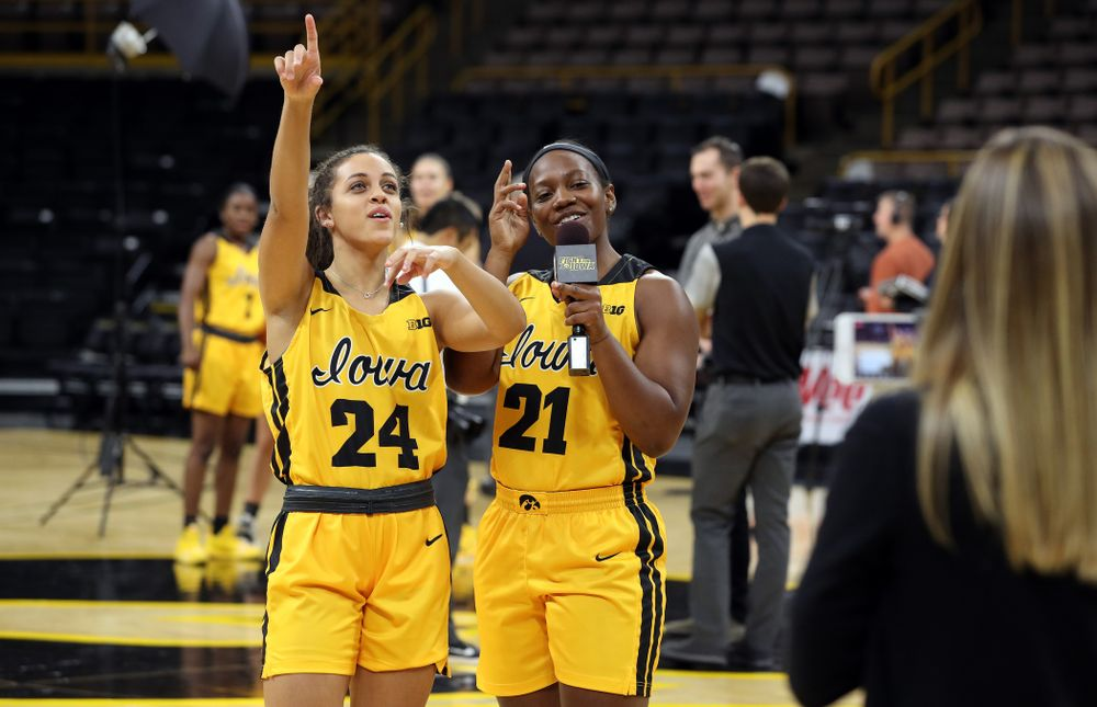 Iowa Hawkeyes guard Gabbie Marshall (24) and guard Zion Sanders (21) during the teamÕs annual media day Thursday, October 24, 2019 at Carver-Hawkeye Arena. (Brian Ray/hawkeyesports.com)