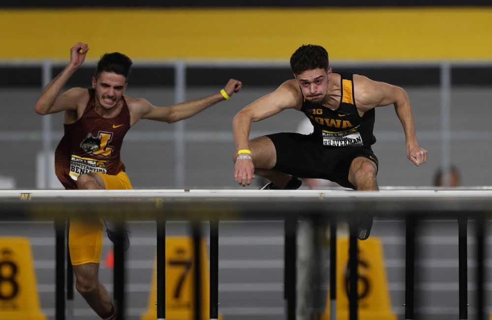 Iowa's Josh Braverman competes in the 60-meter hurdles during the Black and Gold Premier meet Saturday, January 26, 2019 at the Recreation Building. (Brian Ray/hawkeyesports.com)