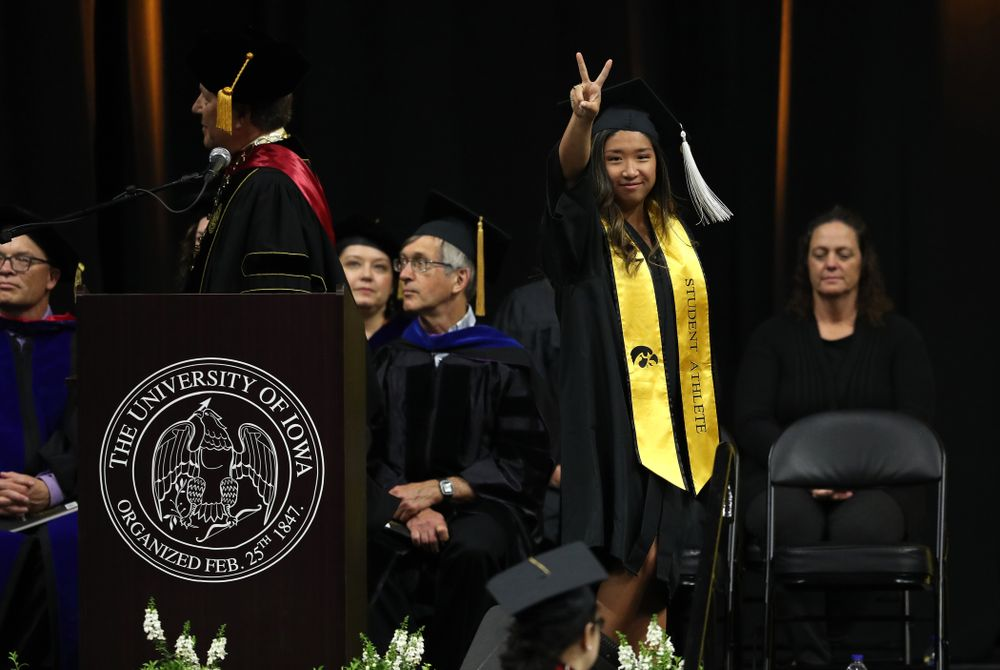 Iowa WomenÕs Gymnast Nicole Chow during the College of Liberal Arts and Sciences spring commencement Saturday, May 11, 2019 at Carver-Hawkeye Arena. (Brian Ray/hawkeyesports.com)