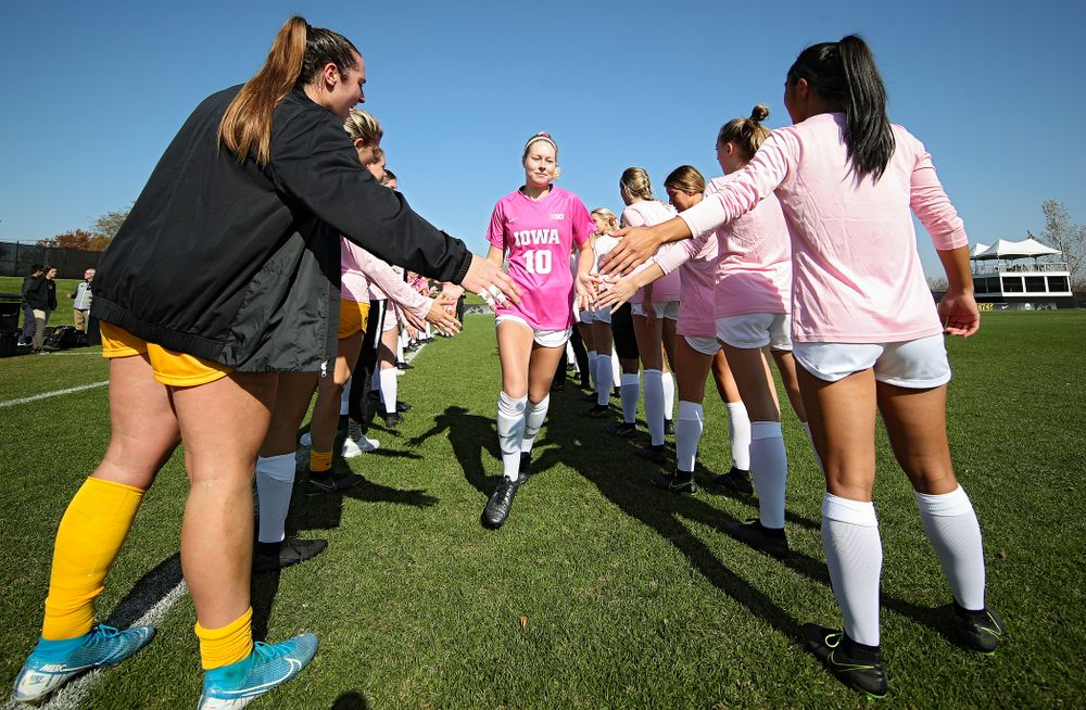 Iowa midfielder/defender Natalie Winters (10) takes the field before their match at the Iowa Soccer Complex in Iowa City on Sunday, Oct 27, 2019. (Stephen Mally/hawkeyesports.com)