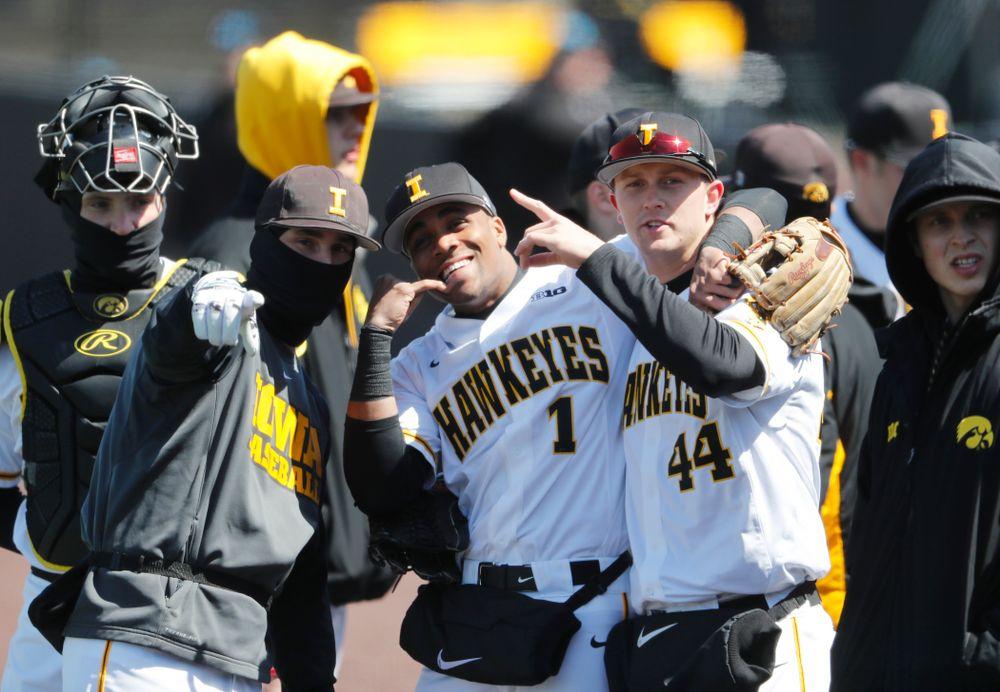Iowa Hawkeyes infielder Chris Whelan (28), third baseman Lorenzo Elion (1), and outfielder Robert Neustrom (44) against the Ohio State Buckeyes Saturday, April 7, 2018 at Duane Banks Field. (Brian Ray/hawkeyesports.com)
