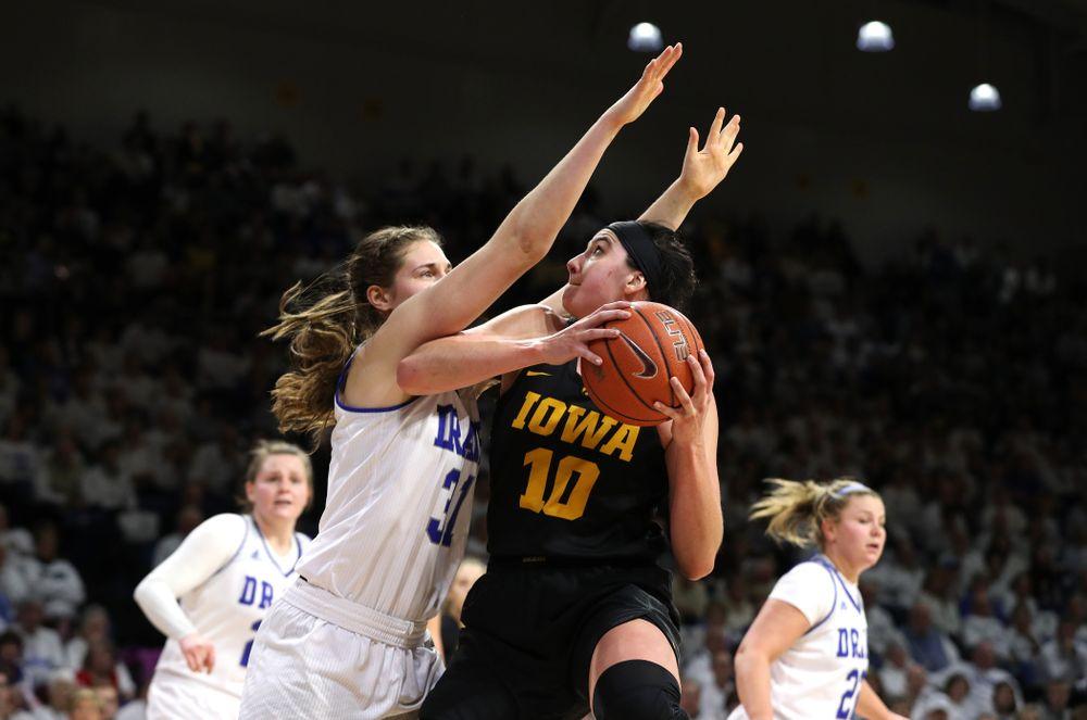 Iowa Hawkeyes forward Megan Gustafson (10) against the Drake Bulldogs Friday, December 21, 2018 at the Knapp Center in Des Moines. (Brian Ray/hawkeyesports.com)
