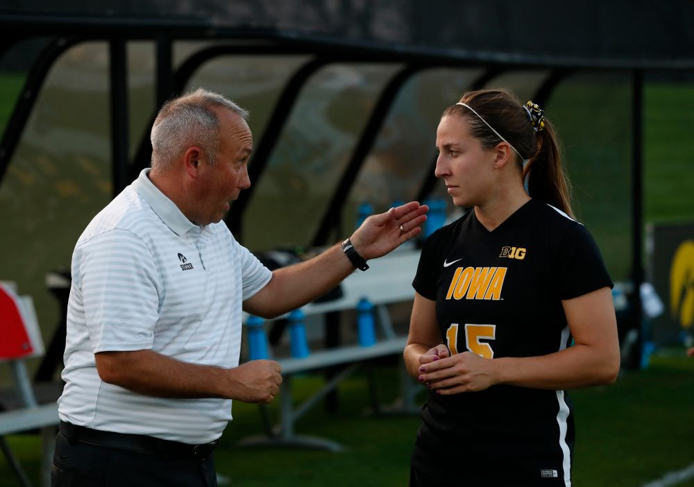 Iowa Hawkeyes head coach Dave DiIanni and  Rose Ripslinger (15) against the Purdue Boilermakers Thursday, September 20, 2018 at the Iowa Soccer Complex. (Brian Ray/hawkeyesports.com)