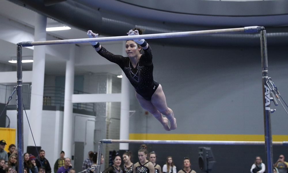 Jax Kranitz competes on the bars during the Black and Gold intrasquad meet Saturday, December 1, 2018 at the University of Iowa Field House. (Brian Ray/hawkeyesports.com)