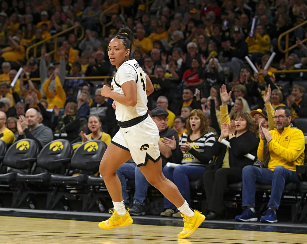 Iowa Hawkeyes guard Alexis Sevillian (5) runs down the court after making a 3-pointer during the first quarter of the game at Carver-Hawkeye Arena in Iowa City on Thursday, February 6, 2020. (Stephen Mally/hawkeyesports.com)