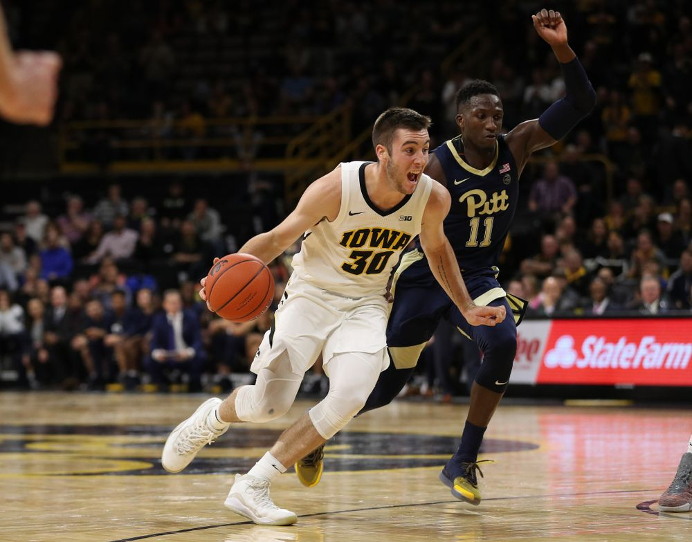 Iowa Hawkeyes guard Connor McCaffery (30) against the Pitt Panthers Tuesday, November 27, 2018 at Carver-Hawkeye Arena. (Brian Ray/hawkeyesports.com)