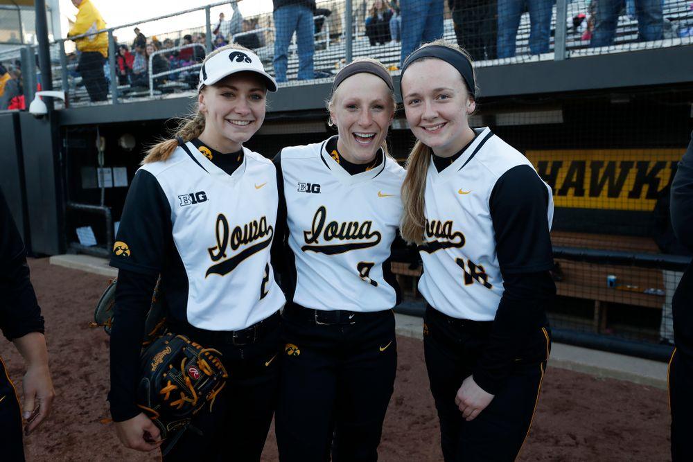 Iowa Hawkeyes infielder Aralee Bogar (2), infielder Sarah Kurtz (9), and catcher Brooke Rozier (16) against Western Illinois Tuesday, April 17, 2018 at Bob Pearl Field. (Brian Ray/hawkeyesports.com)