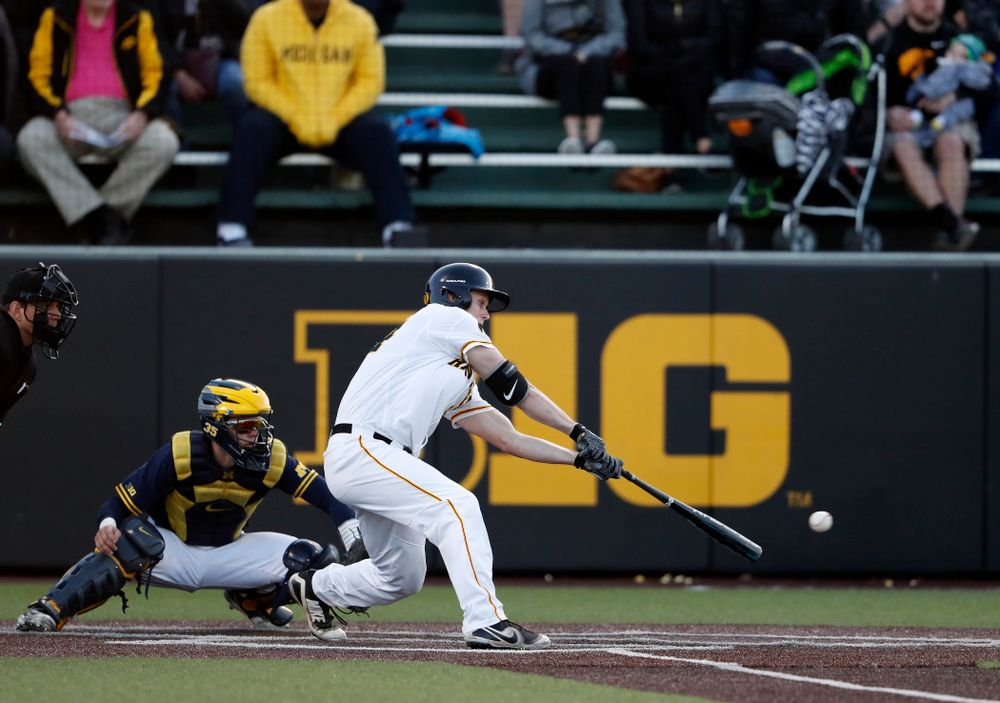 Iowa Hawkeyes outfielder Robert Neustrom (44) against the Michigan Wolverines Friday, April 27, 2018 at Duane Banks Field in Iowa City. (Brian Ray/hawkeyesports.com)