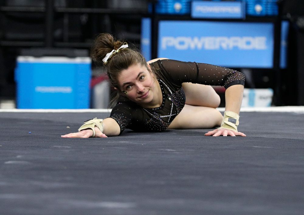 Iowa's Bridget Killian competes on the floor during their meet at Carver-Hawkeye Arena in Iowa City on Sunday, March 8, 2020. (Stephen Mally/hawkeyesports.com)