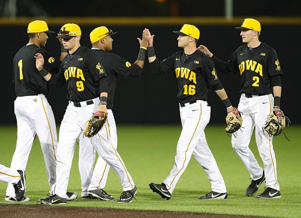 The Iowa Hawkeyes celebrate after winning their game against Western Illinois at Duane Banks Field in Iowa City on Wednesday, May. 1, 2019. (Stephen Mally/hawkeyesports.com)
