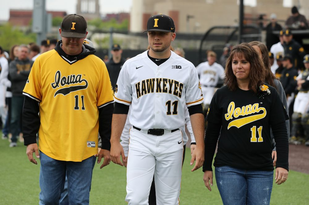 Iowa Hawkeyes Cole McDonald (11) during senior day festivities before their game against Michigan State Sunday, May 12, 2019 at Duane Banks Field. (Brian Ray/hawkeyesports.com)