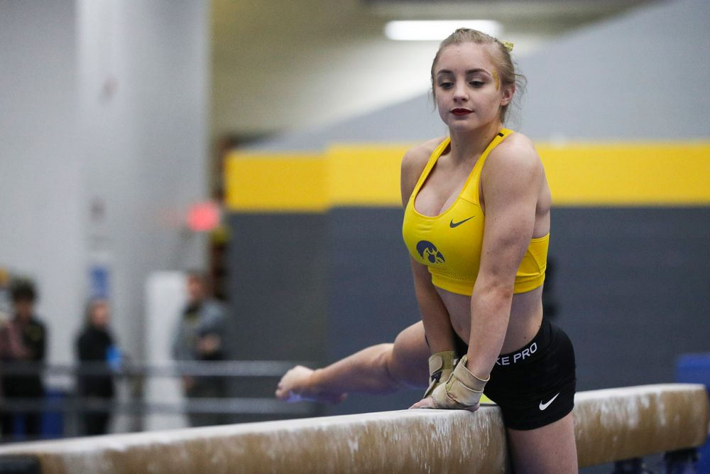 Lauren Guerin performs on the beam during the Iowa women's gymnastics Black and Gold Intraquad Meet on Saturday, December 7, 2019 at the UI Field House. (Lily Smith/hawkeyesports.com)