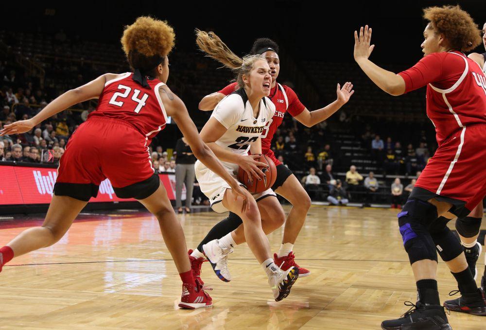 Iowa Hawkeyes guard Kathleen Doyle (22) against the Rutgers Scarlet Knights Wednesday, January 23, 2019 at Carver-Hawkeye Arena. (Brian Ray/hawkeyesports.com)