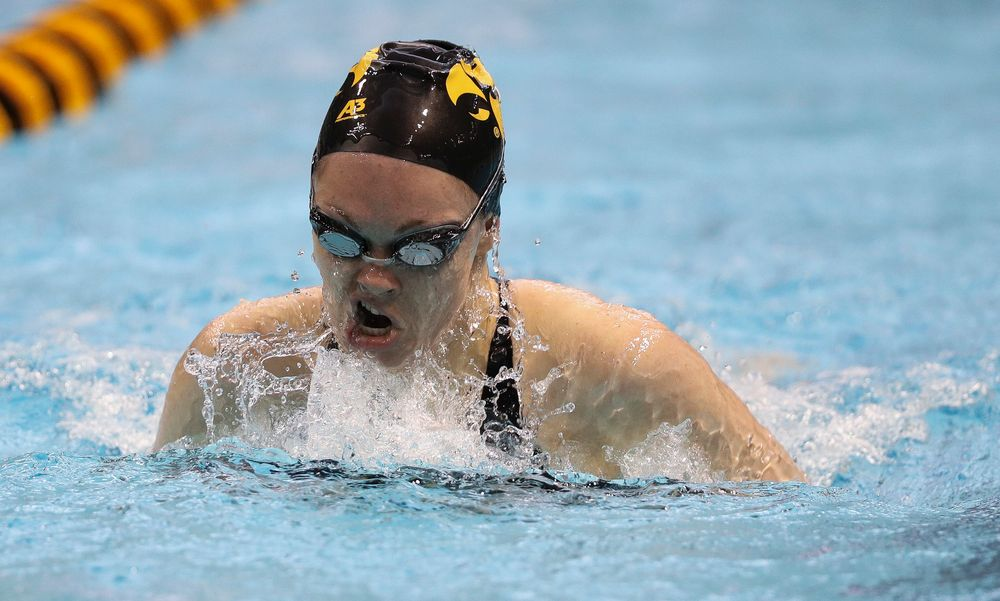 Iowa's Lexi Horner competes in the 200-yard breaststroke during the third day of the Hawkeye Invitational at the Campus Recreation and Wellness Center on November 17, 2018. (Tork Mason/hawkeyesports.com)