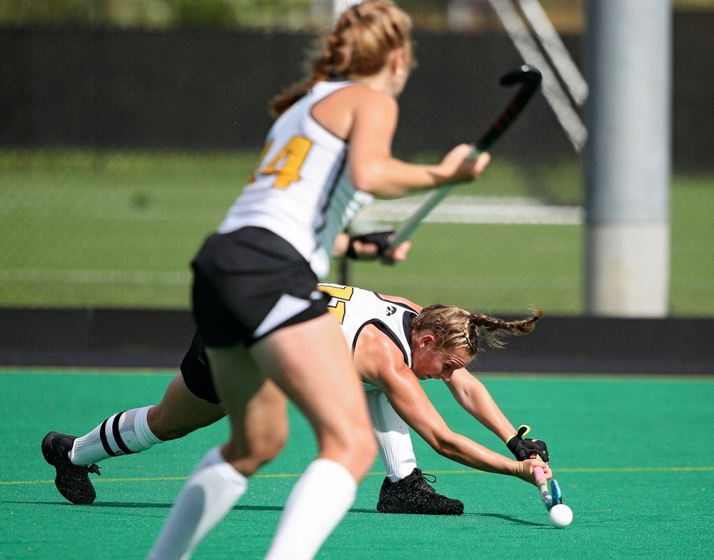 Iowa's Katie Birch (11) scores a goal during the second quarter of their game at Grant Field in Iowa City on Friday, Sep 13, 2019. (Stephen Mally/hawkeyesports.com)