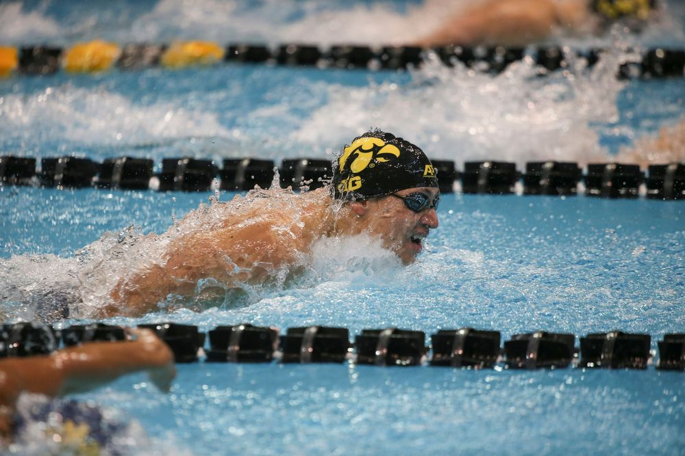 Iowa's Michael Tenney swims the 200-yard butterfly during the Iowa swimming and diving meet vs Notre Dame and Illinois on Saturday, January 11, 2020 at the Campus Recreation and Wellness Center. (Lily Smith/hawkeyesports.com)