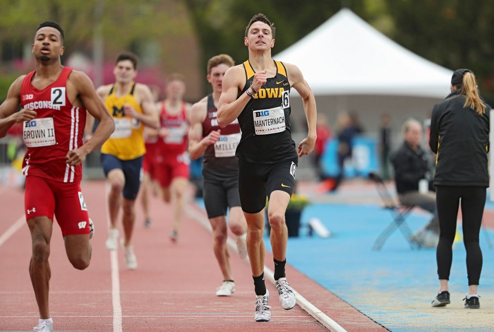 Iowa's Matt Manternach runs the men's 800 meter event on the second day of the Big Ten Outdoor Track and Field Championships at Francis X. Cretzmeyer Track in Iowa City on Saturday, May. 11, 2019. (Stephen Mally/hawkeyesports.com)