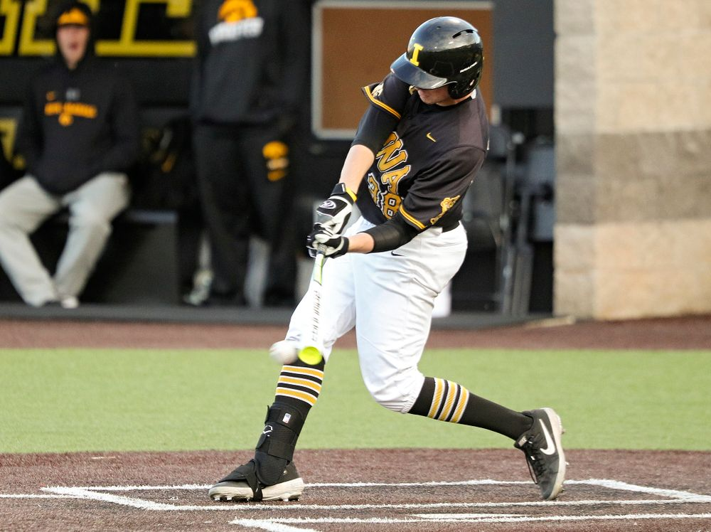 Iowa's Trenton Wallace (38) drives in a run during the seventh inning of the first game of the Black and Gold Fall World Series at Duane Banks Field in Iowa City on Tuesday, Oct 15, 2019. (Stephen Mally/hawkeyesports.com)