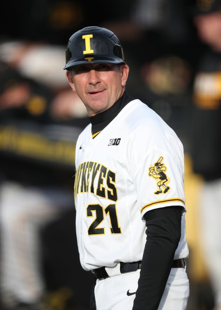Iowa Hawkeyes head coach Rick Heller during game one against UC Irvine Friday, May 3, 2019 at Duane Banks Field. (Brian Ray/hawkeyesports.com)
