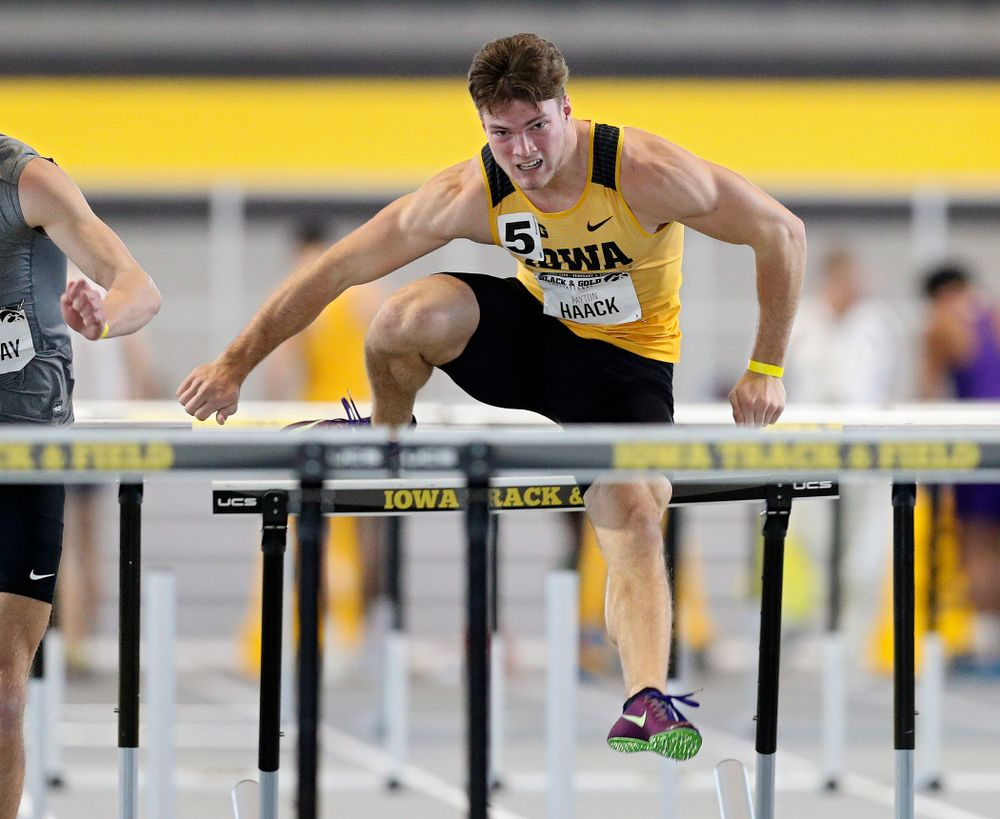 Iowa's Peyton Haack runs the men's 60 meter hurdles event at the Black and Gold Invite at the Recreation Building in Iowa City on Saturday, February 1, 2020. (Stephen Mally/hawkeyesports.com)
