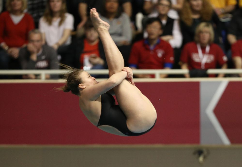 Iowa's Clair Park competes on the 1-meter springboard during the 2019 Women's Big Ten Swimming and Diving meet Thursday, February 21, 2019 in Bloomington, Indiana. (Brian Ray/hawkeyesports.com)