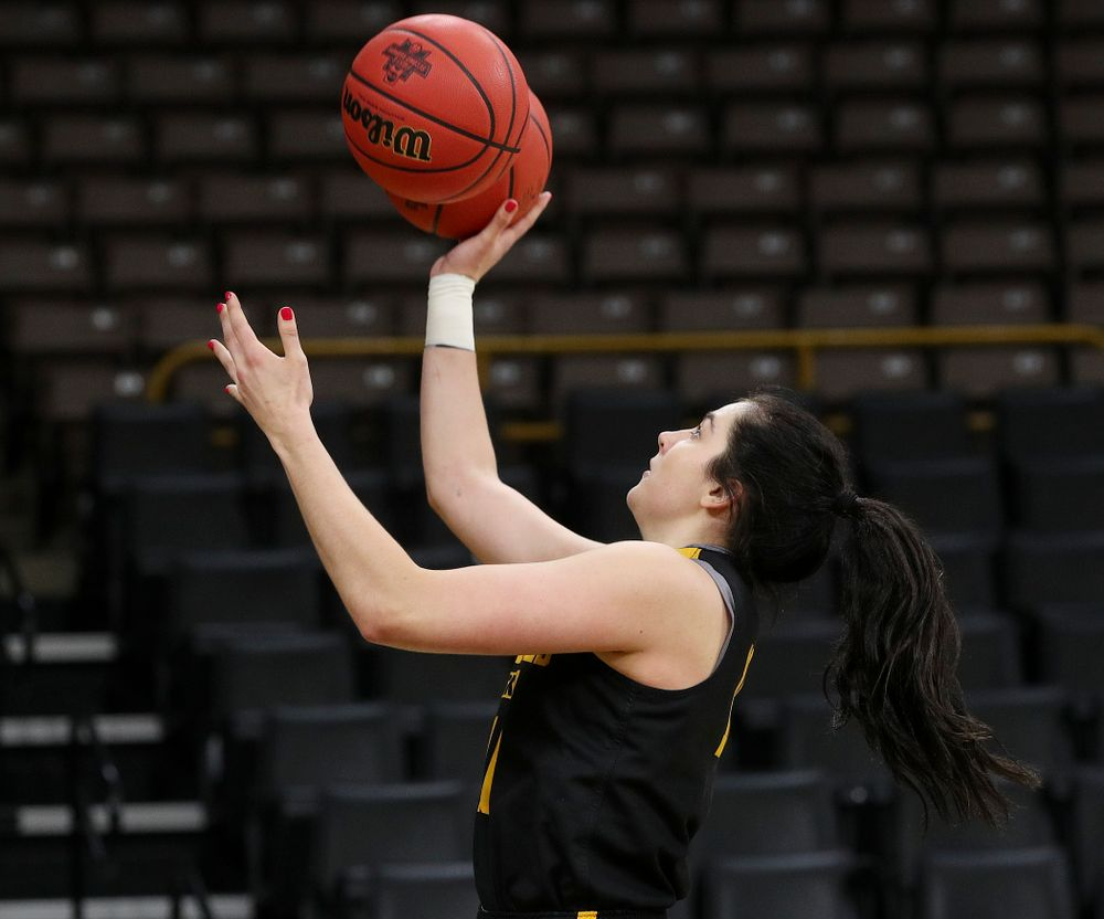 Iowa Hawkeyes forward Megan Gustafson (10) runs a drill for ESPN at a practice during the 2019 NCAA Women's Basketball Tournament at Carver Hawkeye Arena in Iowa City on Saturday, Mar. 23, 2019. (Stephen Mally for hawkeyesports.com)