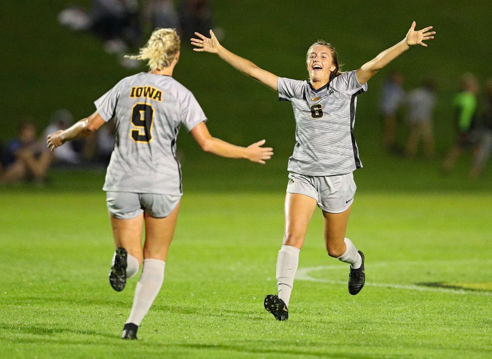 Iowa defender Samantha Cary (9) celebrates with midfielder Isabella Blackman (6) after scoring a goal during the second half of their match at the Iowa Soccer Complex in Iowa City on Friday, Sep 13, 2019. (Stephen Mally/hawkeyesports.com)