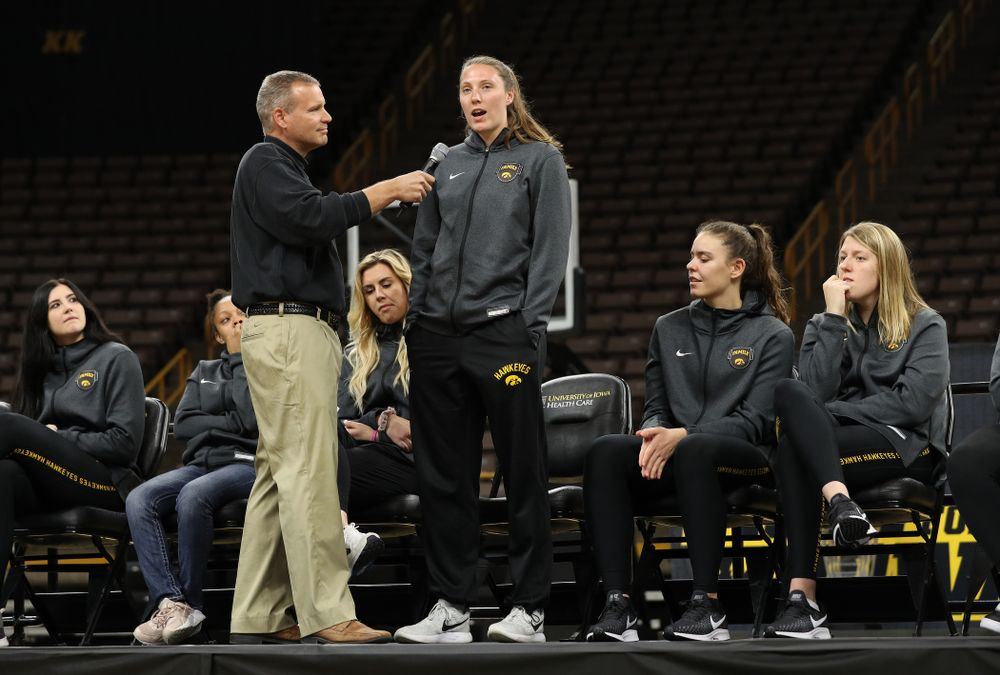 Iowa WomenÕs Basketball radio announcer Rob Books and forward Amanda Ollinger (43) during the teamÕs Celebr-Eight event Wednesday, April 24, 2019 at Carver-Hawkeye Arena. (Brian Ray/hawkeyesports.com)