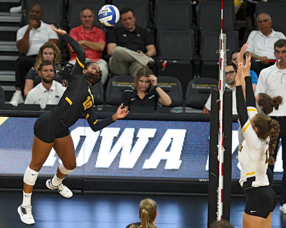Iowa's Griere Hughes (10) during the second set of the Black and Gold scrimmage at Carver-Hawkeye Arena in Iowa City on Saturday, Aug 24, 2019. (Stephen Mally/hawkeyesports.com)