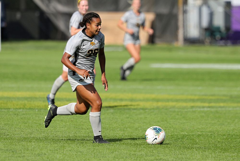 Iowa midfielder/forward Melina Hegelheimer (26) moves with the ball during the second half of their match at the Iowa Soccer Complex in Iowa City on Sunday, Sep 1, 2019. (Stephen Mally/hawkeyesports.com)