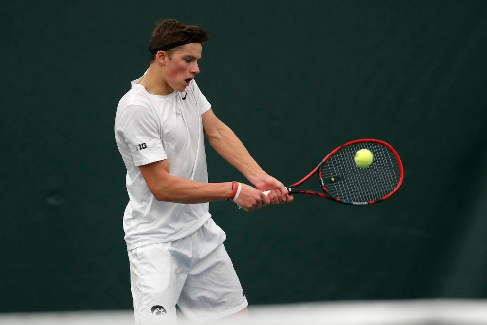 Joe Tyler against Purdue Sunday, April 15, 2018 at the Hawkeye Tennis and Recreation Center. (Brian Ray/hawkeyesports.com)