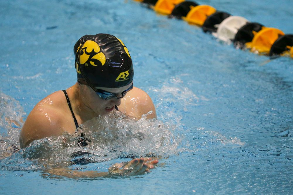 Paige Hanley during Iowa women's swimming and diving vs Rutgers on Friday, November 8, 2019 at the Campus Wellness and Recreation Center. (Lily Smith/hawkeyesports.com)